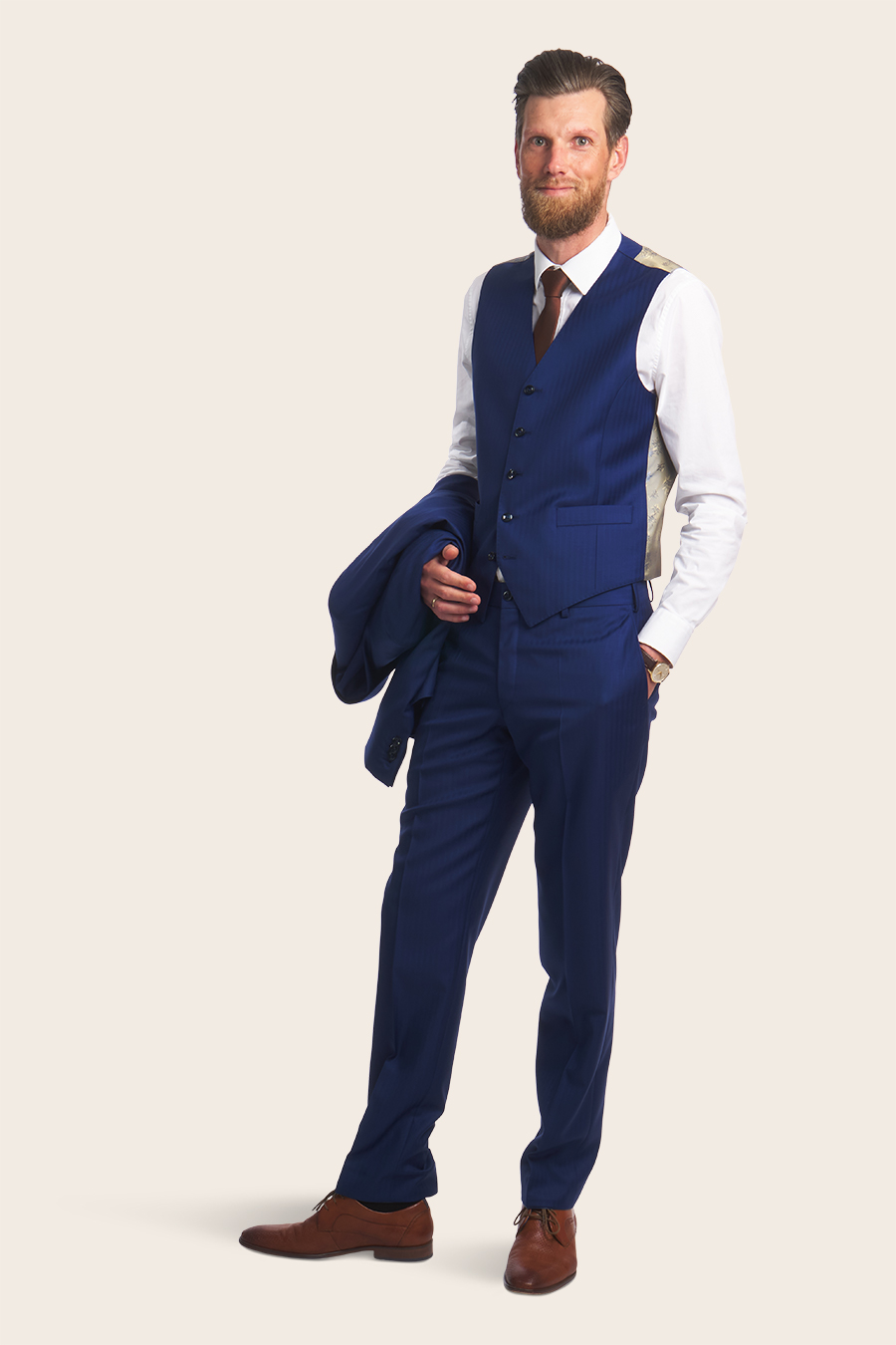 Blue Herringbone Herre Vest 4
