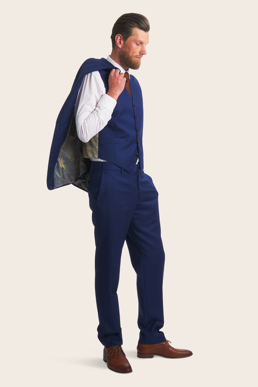 Blue Herringbone Herre Jakkesæt 5
