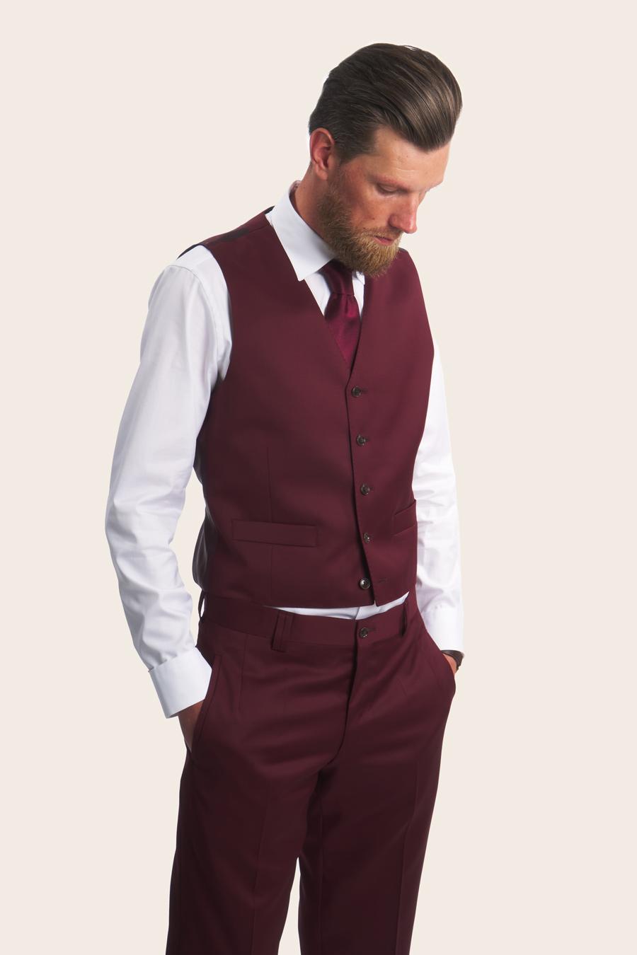 Burgundy Wool Herre Vest 4