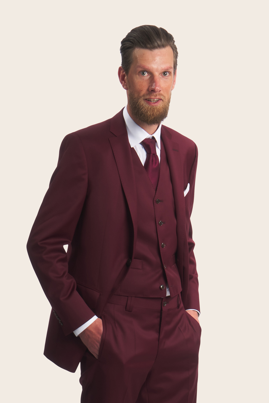 Burgundy Wool Herre Jakke 3
