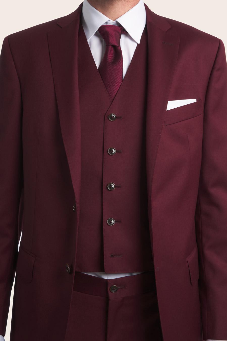 Burgundy Wool Herre Vest 6