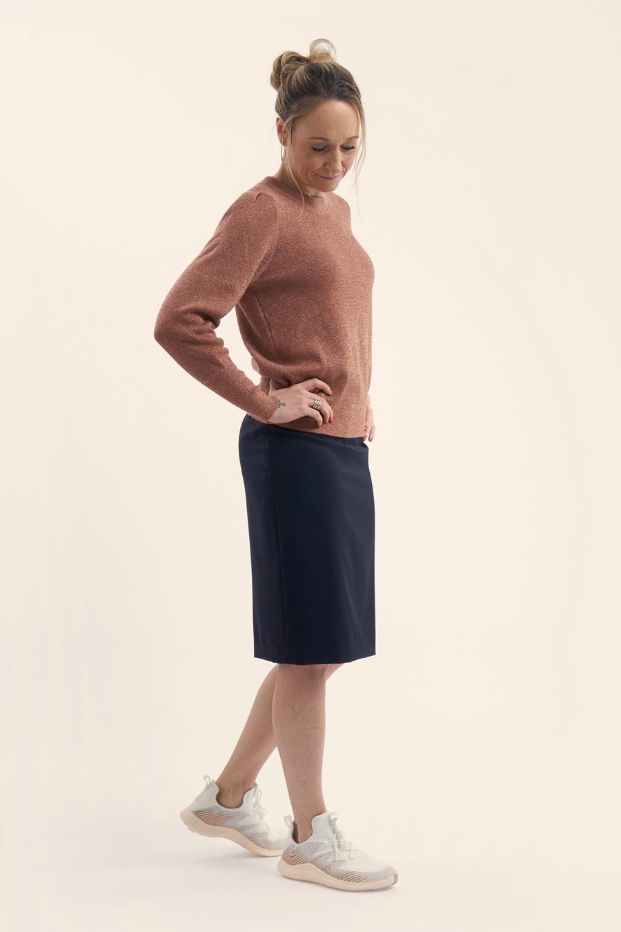 Dark Blue Fine Wool Dame Nederdel 4