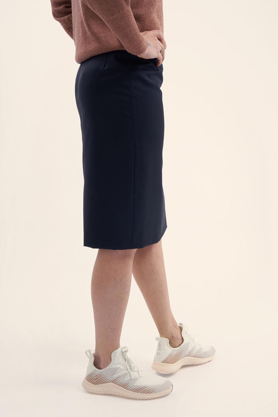 Dark Blue Fine Wool Dame Nederdel 3