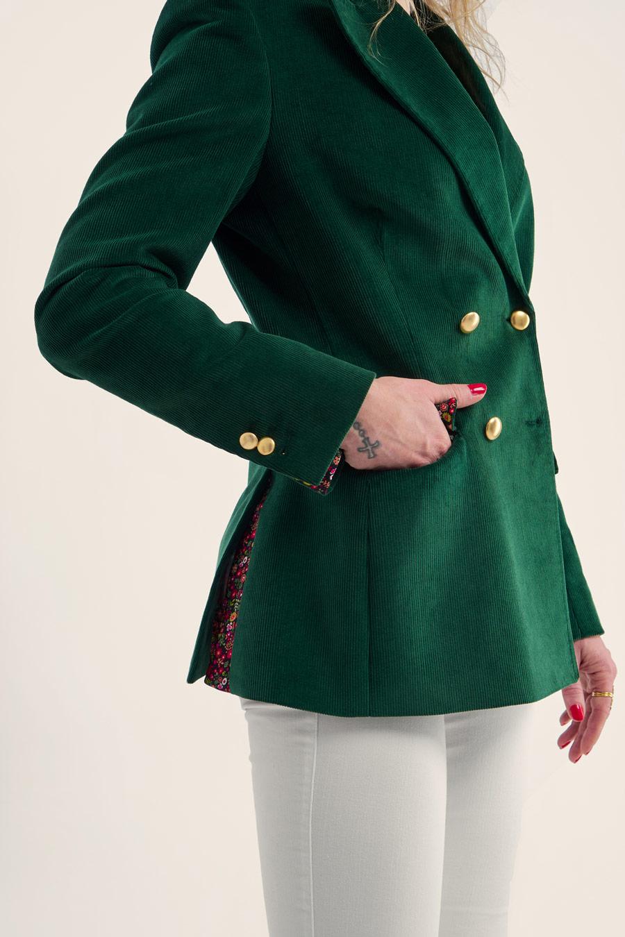 Green Corduroy Dame Jakke 6
