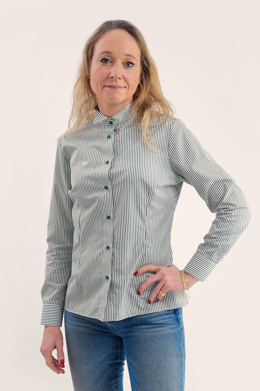 Green Stripes Dame Skjorte 6