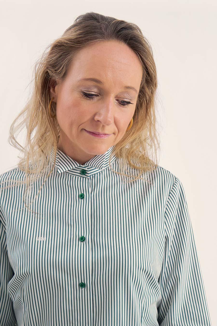 Green Stripes Dame Skjorte 1