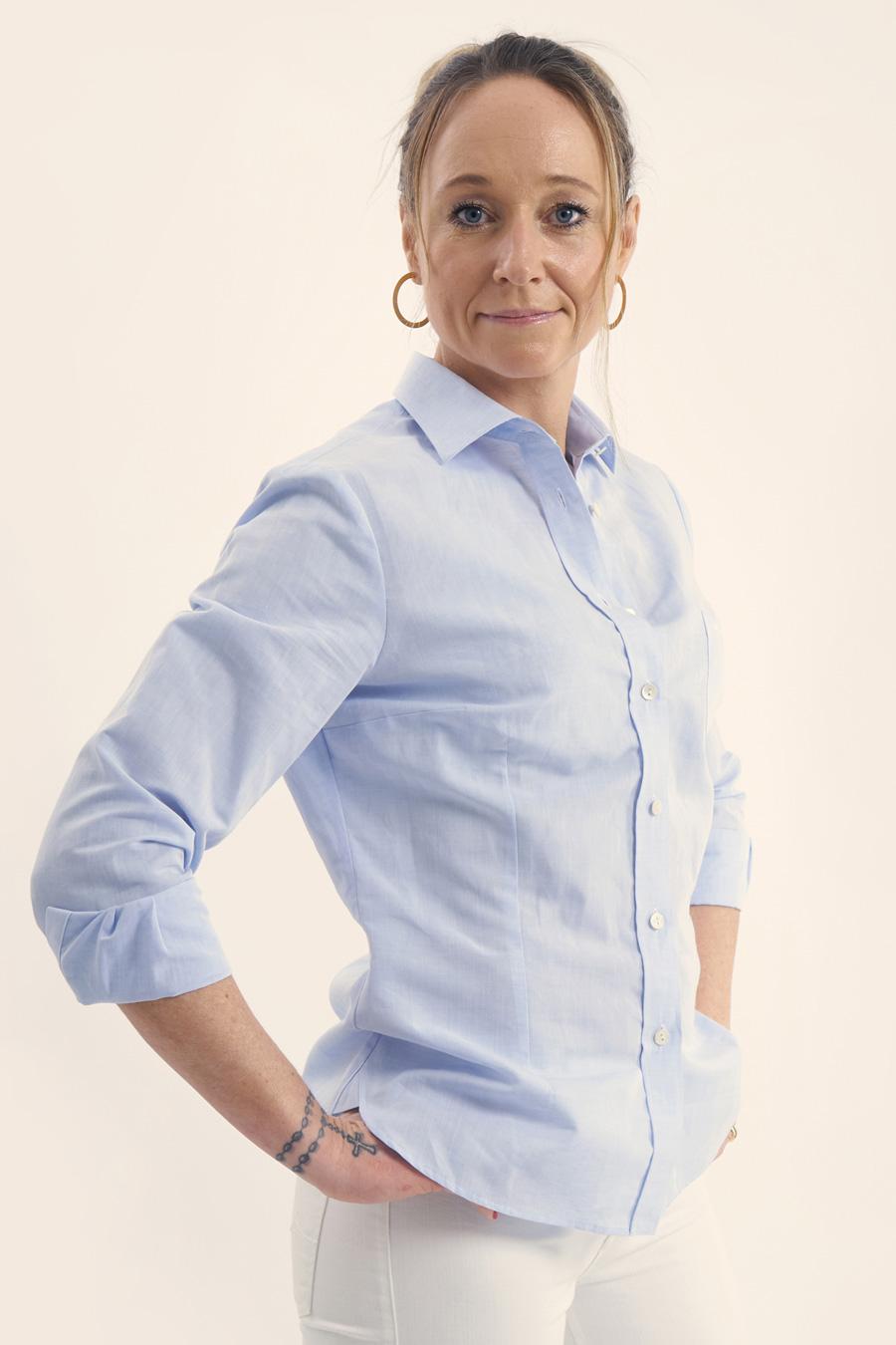 "Featured image for ""Light Blue Linen Dame Skjorte"""