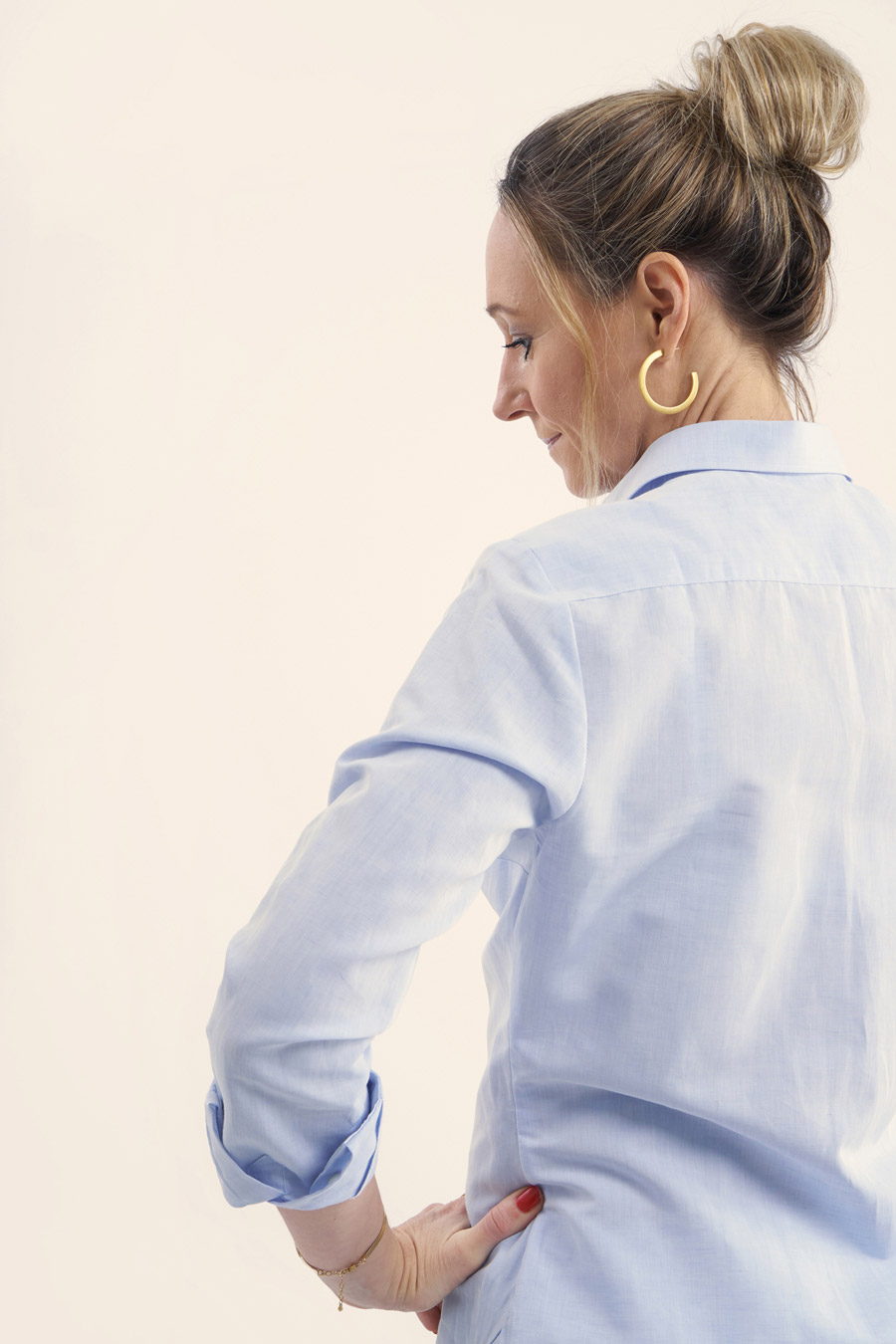 Light Blue Linen Dame Skjorte 6