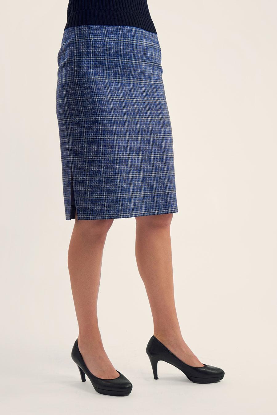 Light Blue Check Dame Nederdel 1