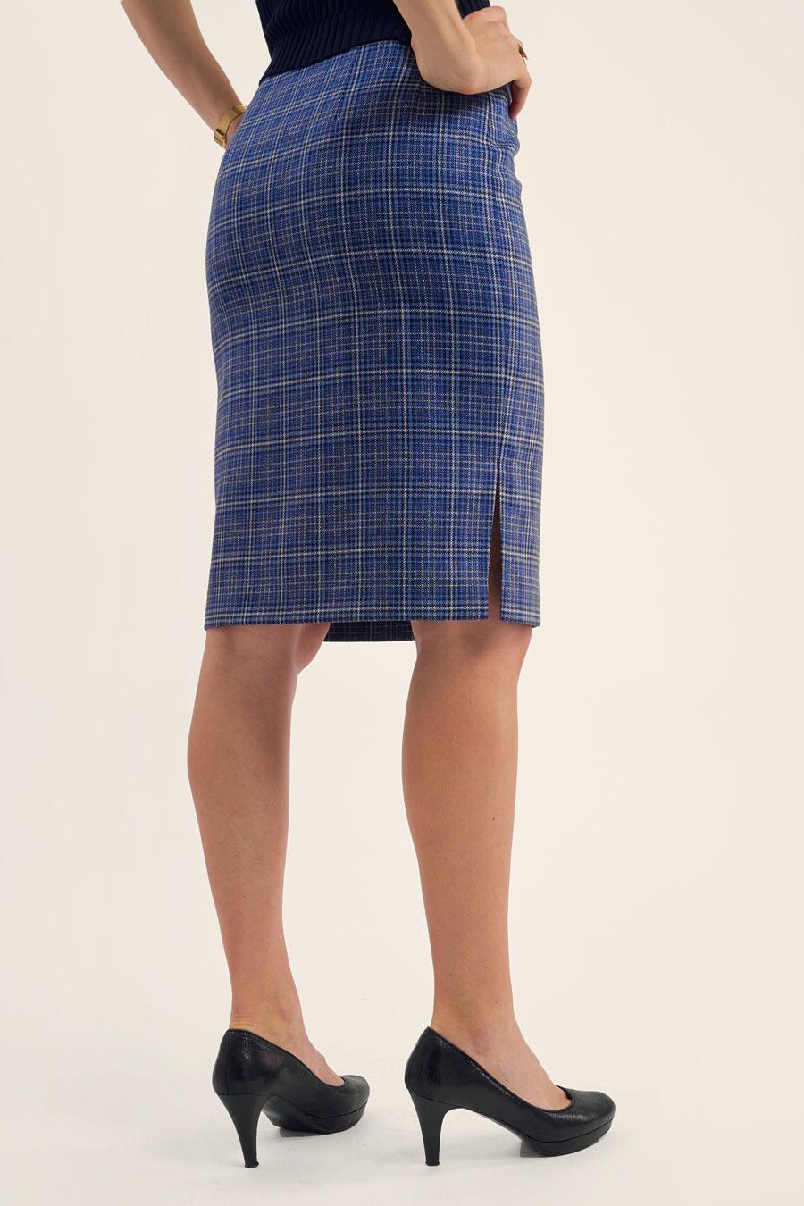 Light Blue Check Dame Nederdel 3