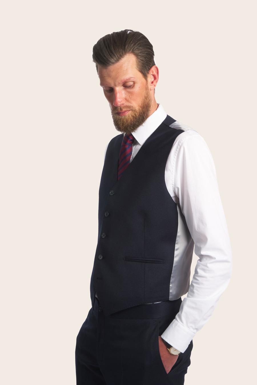 Navy Wool Herre Vest 3