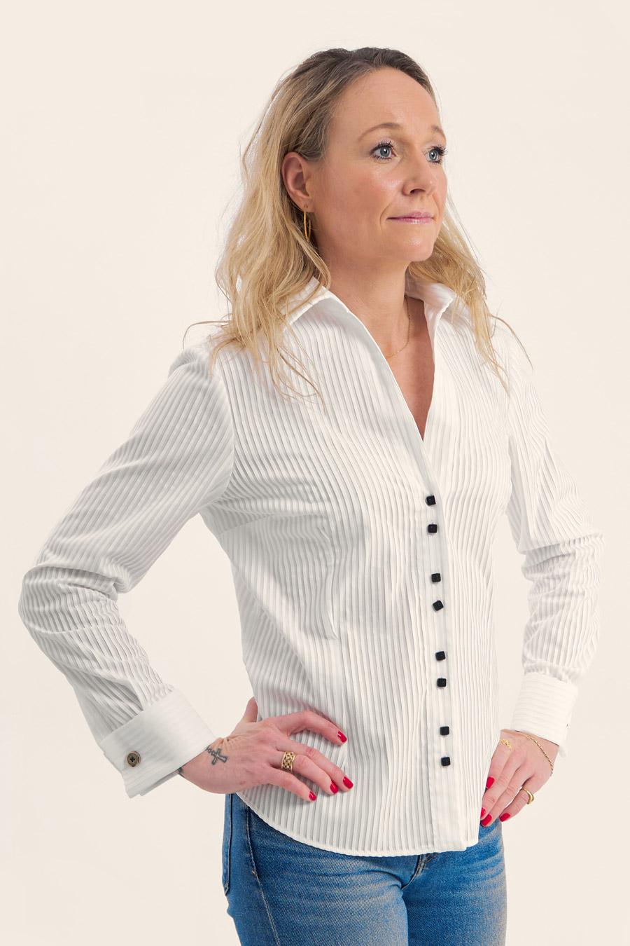 Pleated White Dame Skjorte 4