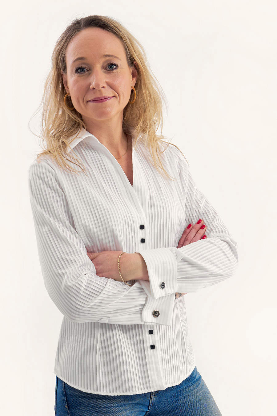 Pleated White Dame Skjorte 3