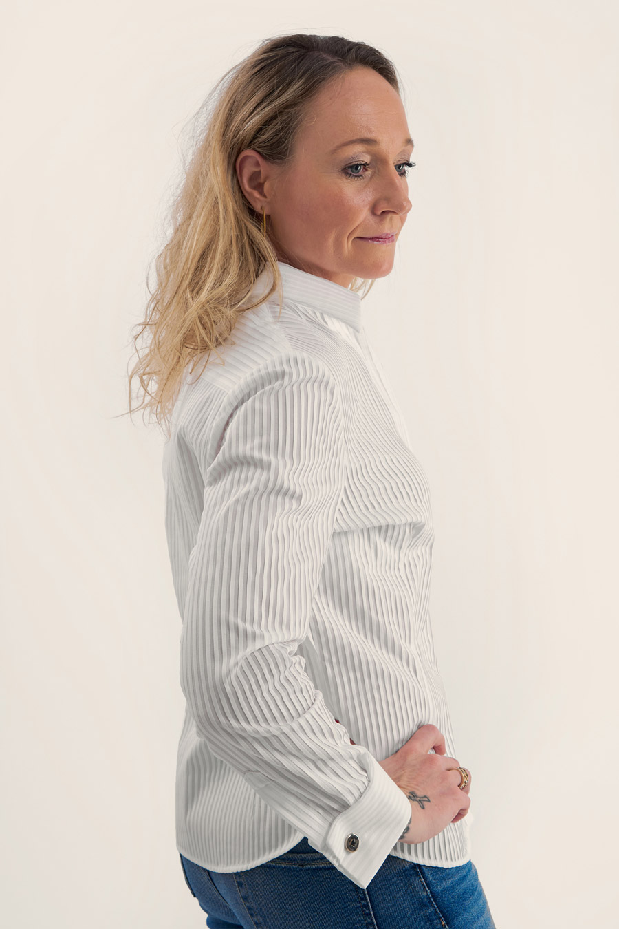 Pleated White Dame Skjorte 2