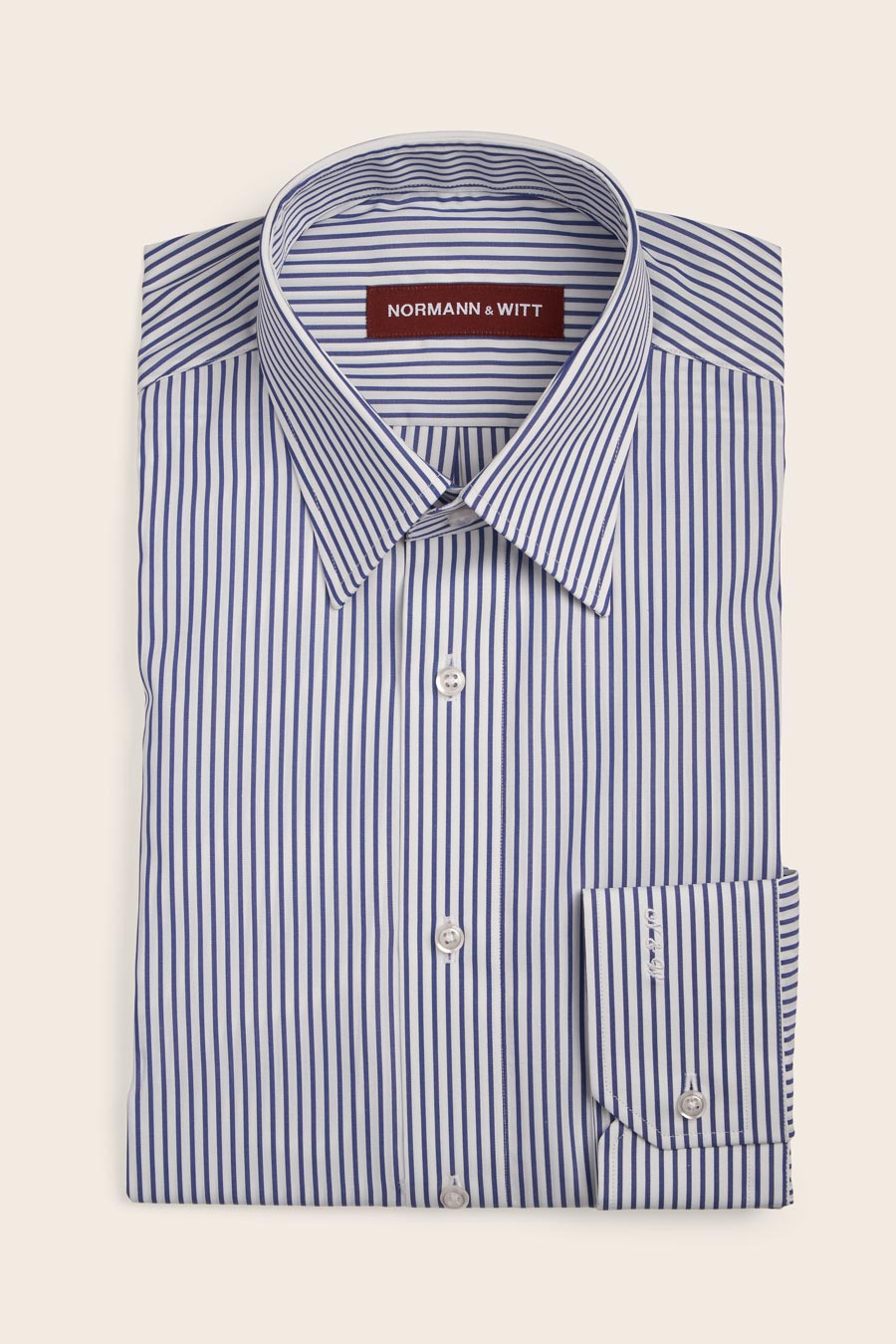 White Blue Stripe Cotton Herre Skjorte 1